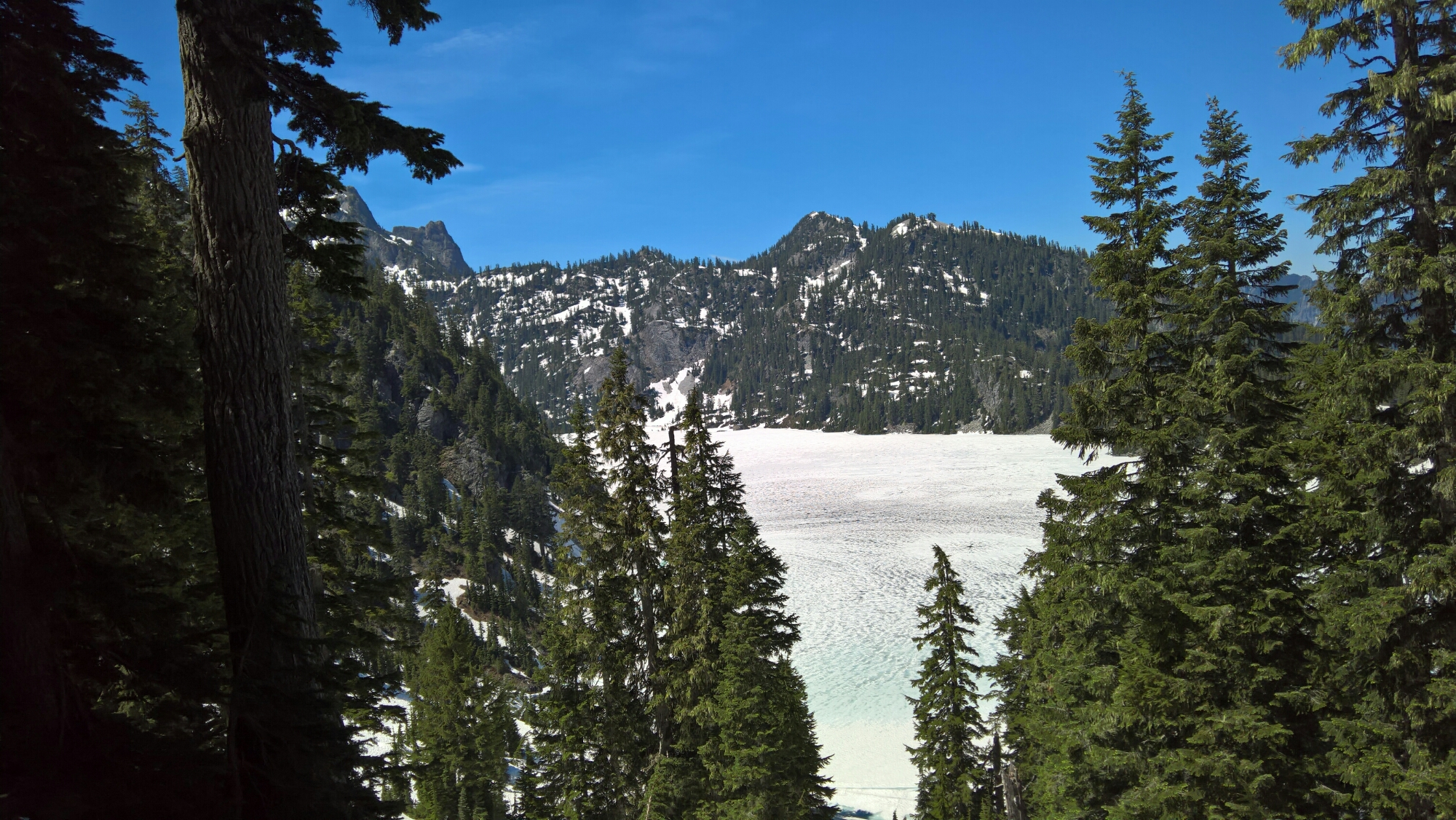 Snow Lake covered in snow